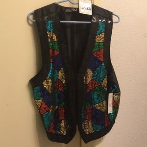 Tops - multicolored sequin vest